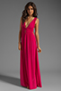 Image 2 of Indah Anjeli Rayon Crepe Plunging V-Nevk and V-Back Empire Maxi Dress in Hot Pink