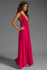 Image 3 of Indah Anjeli Rayon Crepe Plunging V-Nevk and V-Back Empire Maxi Dress in Hot Pink