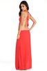 Image 1 of Indah Nyx Rayon Crepe Split Front Open Back Halter Maxi Dress in Papaya