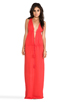 Image 2 of Indah Nyx Rayon Crepe Split Front Open Back Halter Maxi Dress in Papaya