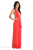 Image 3 of Indah Nyx Rayon Crepe Split Front Open Back Halter Maxi Dress in Papaya