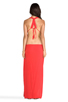Image 4 of Indah Nyx Rayon Crepe Split Front Open Back Halter Maxi Dress in Papaya