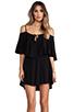 Image 1 of Indah Zhina Rayon Chiffon Flounce Mini Dress in Black