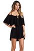 Image 3 of Indah Zhina Rayon Chiffon Flounce Mini Dress in Black