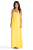 Image 1 of Indah Zanzi Rayon Crepe Pinch Front Smocked Bust Strapless Maxi Dress in Sunshine