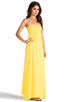 Image 2 of Indah Zanzi Rayon Crepe Pinch Front Smocked Bust Strapless Maxi Dress in Sunshine