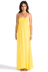 Image 4 of Indah Zanzi Rayon Crepe Pinch Front Smocked Bust Strapless Maxi Dress in Sunshine
