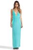 Image 1 of Indah River Silk Crepe Split Front Wrap Side Maxi Dress With Adjustable Tie Back in Aqua