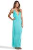 Image 2 of Indah River Silk Crepe Split Front Wrap Side Maxi Dress With Adjustable Tie Back in Aqua