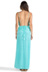 Image 3 of Indah River Silk Crepe Split Front Wrap Side Maxi Dress With Adjustable Tie Back in Aqua