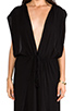 Image 5 of Indah Jade Rayon Crepe Plunging V-Neck Draped Cross Back Maxi Lounge Dress in Black