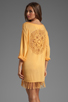 Image 1 of Indah Bridgette Long Sleeve Shift Mini Dress in Gold