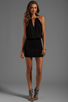 Image 2 of Indah Canoa Blouson Cut Away Smocked Mini Dress in Black