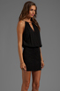 Image 3 of Indah Canoa Blouson Cut Away Smocked Mini Dress in Black