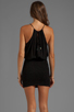 Image 4 of Indah Canoa Blouson Cut Away Smocked Mini Dress in Black