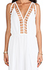 Image 5 of Indah Gypsy Deep V Cut Out Trim Jumpsuit in White