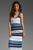 Image 1 of James Perse Pacific Stripe Racerback Dress in Navy/White