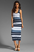Image 2 of James Perse Pacific Stripe Racerback Dress in Navy/White