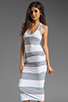 Image 1 of James Perse Coastal Stripe Tank Dress in Heather Grey/White