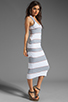 Image 3 of James Perse Coastal Stripe Tank Dress in Heather Grey/White
