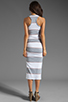 Image 4 of James Perse Coastal Stripe Tank Dress in Heather Grey/White