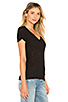 Image 2 of James Perse Casual V Neck Tee with Reverse Binding in Black