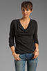 Image 1 of James Perse Lightweight Terry Cowl Neck Top in Black