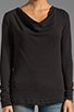 Image 3 of James Perse Lightweight Terry Cowl Neck Top in Black