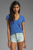 Image 1 of James Perse Short Sleeve Relaxed V-Neck Tee in Bluebell