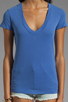 Image 3 of James Perse Short Sleeve Relaxed V-Neck Tee in Bluebell