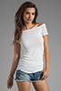 Image 1 of James Perse Bare Shoulder T in White