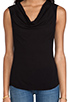 Image 4 of James Perse Woven Cowl Tank in Black