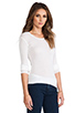 Image 2 of James Perse Cashmere Rib Long Sleeve Crew in White