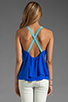 Image 2 of Jay Godfrey Ginger Low Back Tank in Sapphire Blue/Sky Blue