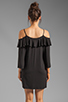 Image 4 of James & Joy Natalie Open Shoulder Dress in Black