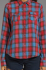 Image 3 of Joe's Jeans Plaid Button Down Shirt in Crimson