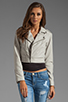 Image 2 of Joie Dolores B Paper Leather Jacket in Pale Grey