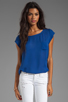Image 1 of Joie Matte Silk Rancher Top in Peruvian Blue