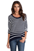 Image 1 of Juicy Couture Peyton Stripe Sweater in Regal/Angel