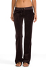 Image 1 of Juicy Couture Velour Flared Leg Pant with Snap Pockets in Chestnut
