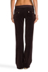 Image 3 of Juicy Couture Velour Flared Leg Pant with Snap Pockets in Chestnut