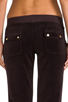Image 6 of Juicy Couture Velour Flared Leg Pant with Snap Pockets in Chestnut