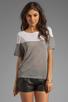 Image 1 of Kain Sheer Jersey Dayton Tee in White/Heather Grey Combo