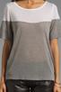Image 3 of Kain Sheer Jersey Dayton Tee in White/Heather Grey Combo