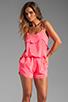Image 1 of Karina Grimaldi Raffaela Solid Romper in Neon Pink