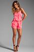 Image 2 of Karina Grimaldi Raffaela Solid Romper in Neon Pink