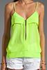 Image 3 of Karina Grimaldi Sophie Zipper Top in Neon Green