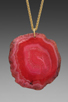 Image 2 of Kenneth Jay Lane 34' Gold Chain Pink Agate Pendant Necklace in Pink Agate