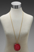 Image 5 of Kenneth Jay Lane 34' Gold Chain Pink Agate Pendant Necklace in Pink Agate