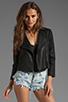 Image 1 of krisa Shrunken Coated Motorcycle Jacket in Black